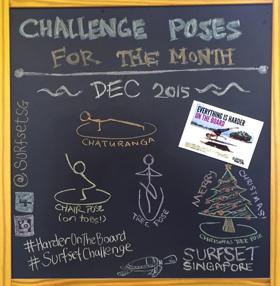 SURFSET Fitness Challenge Poses December 2015 Closeup Yoga Pose Chaturanga Pose Chair Pose Tree Pose