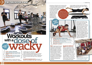 8 Days Magazine Article workouts wacky surf's up