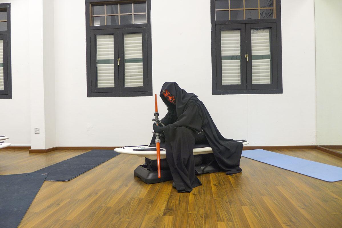 Halloween Darth Maul in Surfset Studio with lightsaber