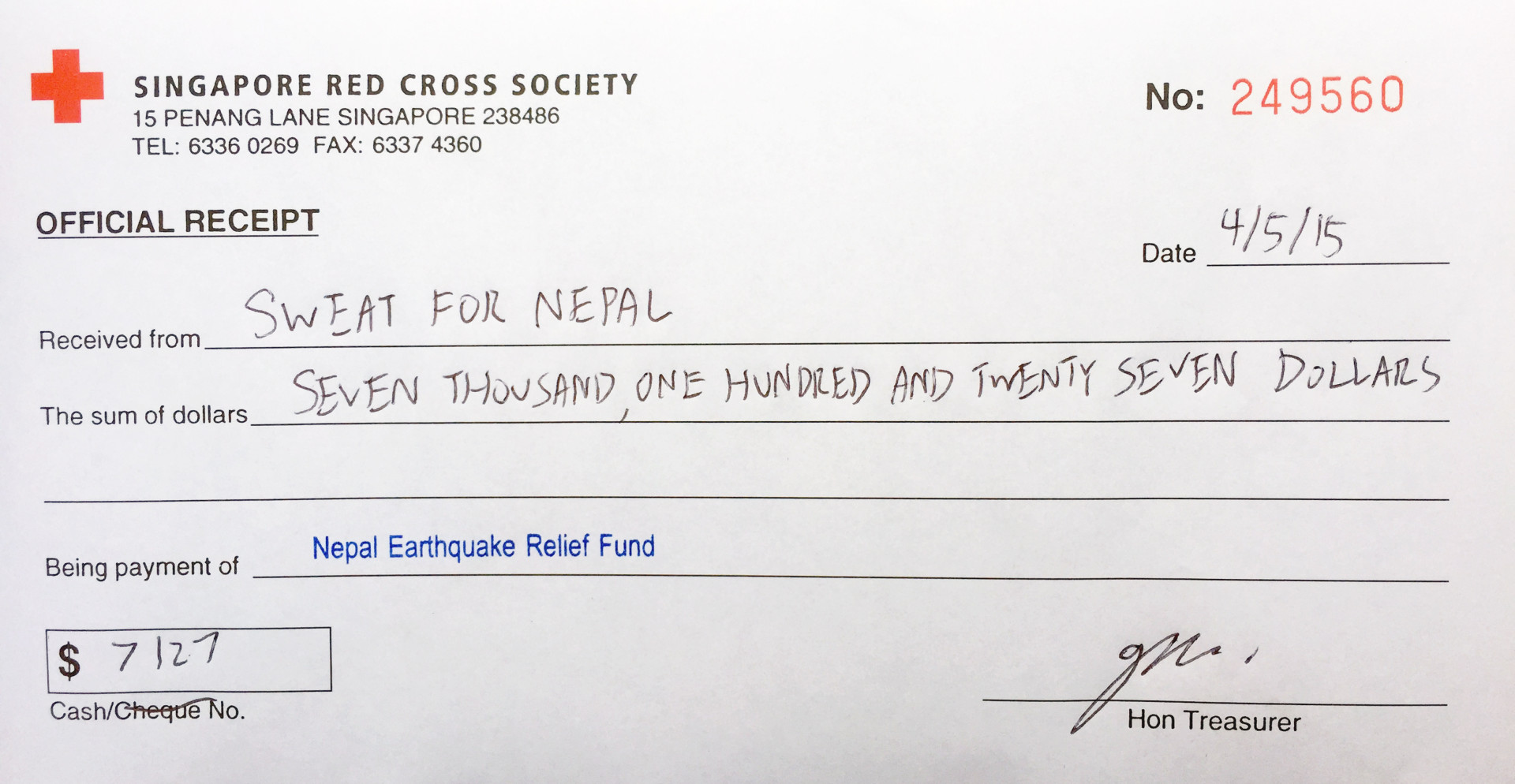 Sweatfornepal charity contribution to singapore red cross society receipt
