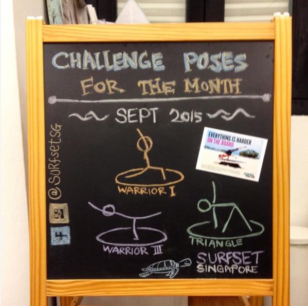 Yoga pose challenge drawing on whiteboard