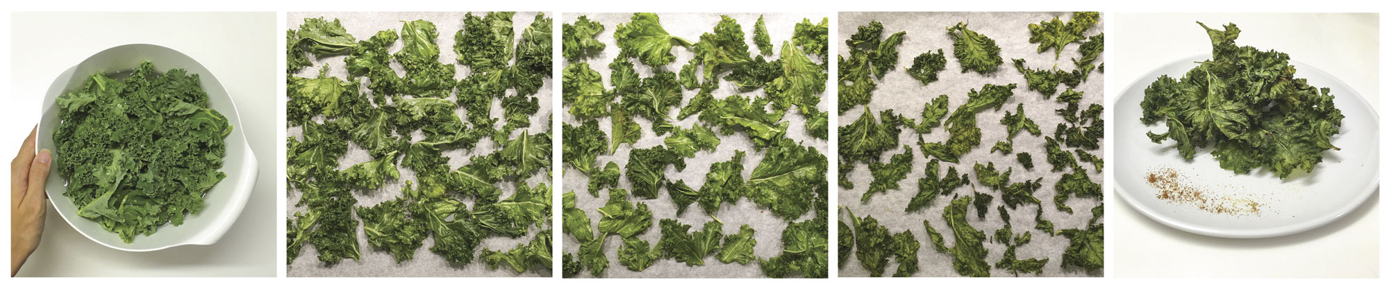 Steps to making kale chips, with washing and using oven and serving