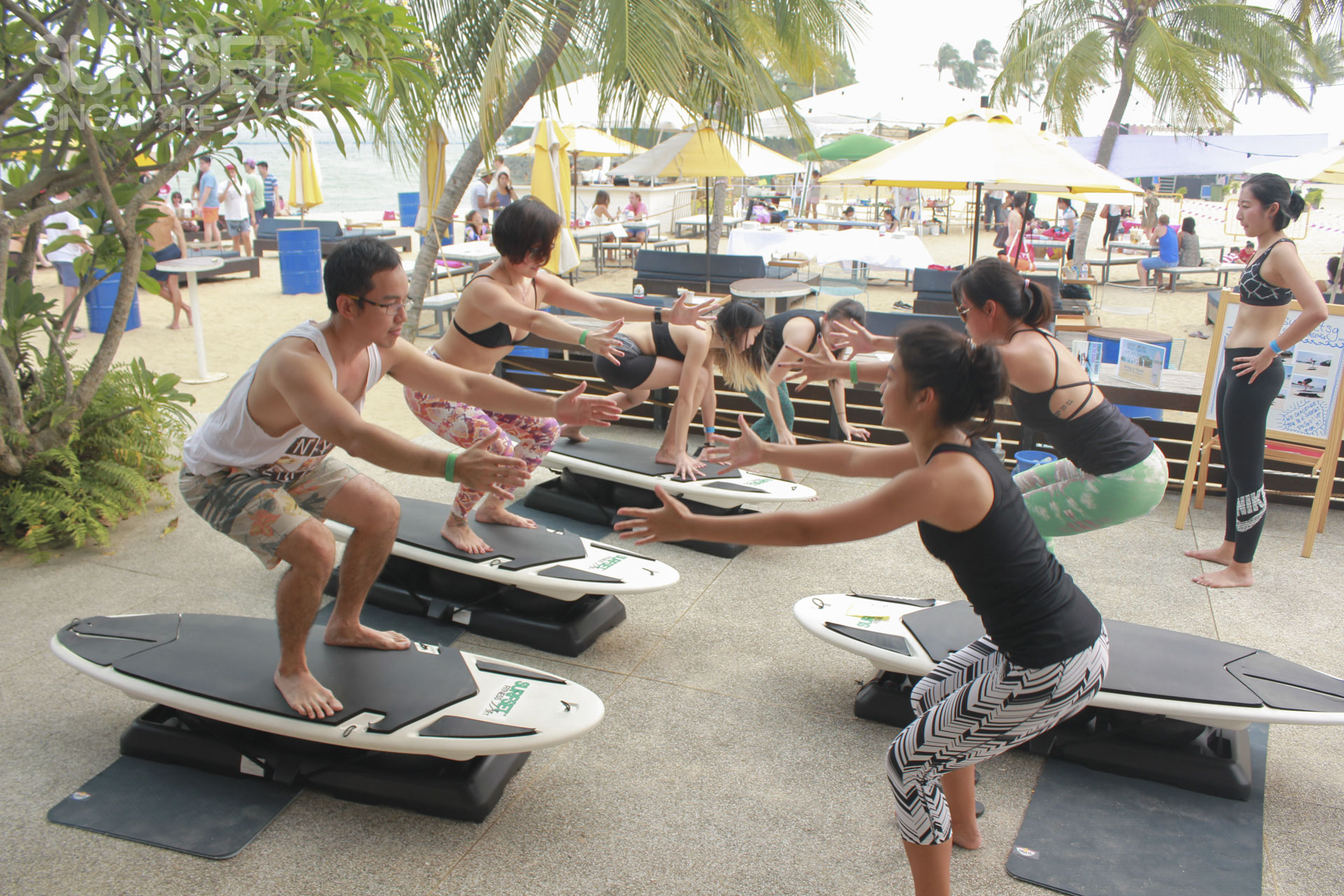 Participants having fun with Surfset during Soulscape Yoga Event