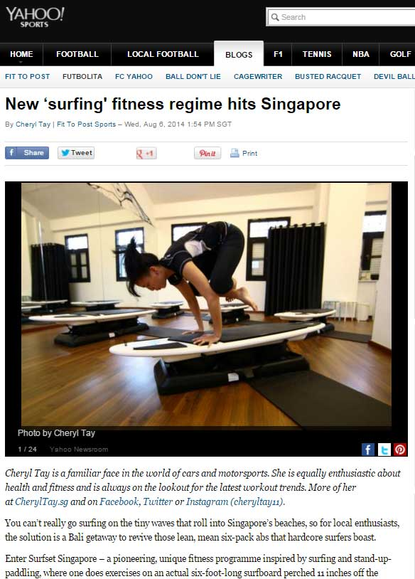 Yahoo Sports Article Cheryl Tay unique fitness programme