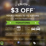 GrabTaxi Promotion for Katong i12 $3 off