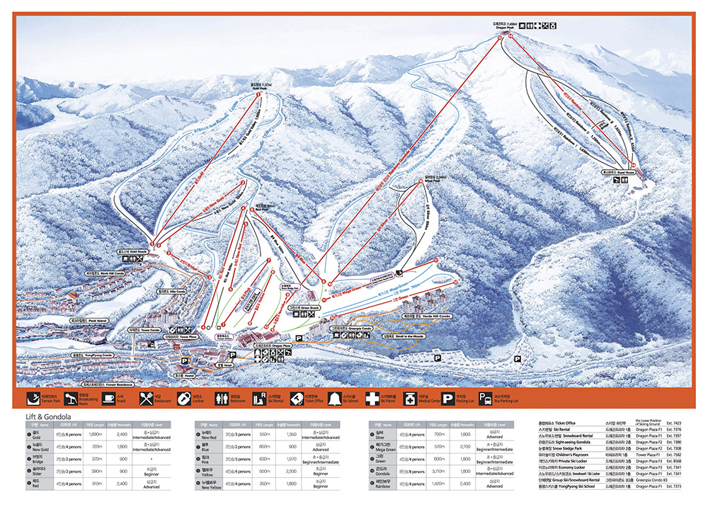 Yong Pyong trail map