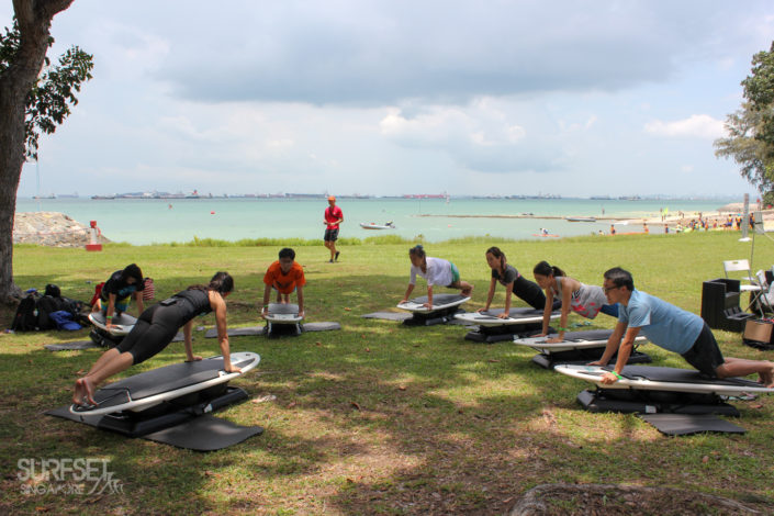 Group core classes at East Coast Park, Singapore