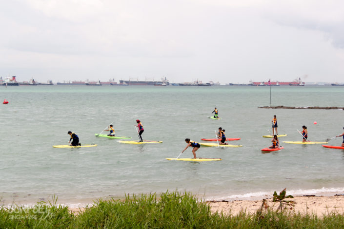 Stand up paddling at East Coast Park