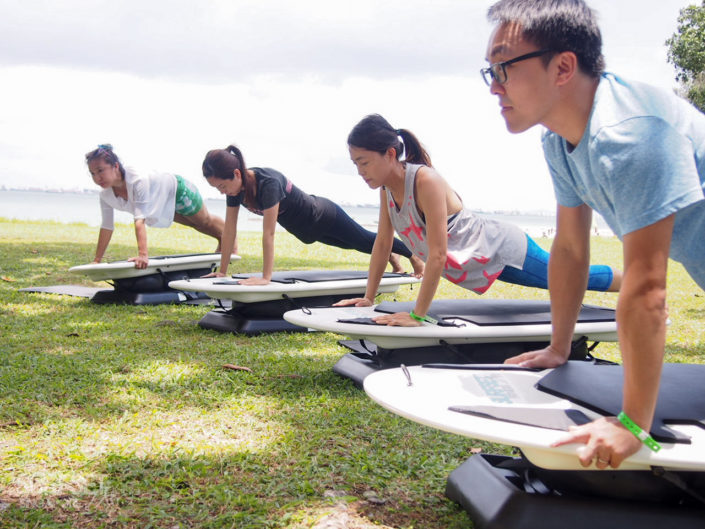Core exercises on SURFSET board